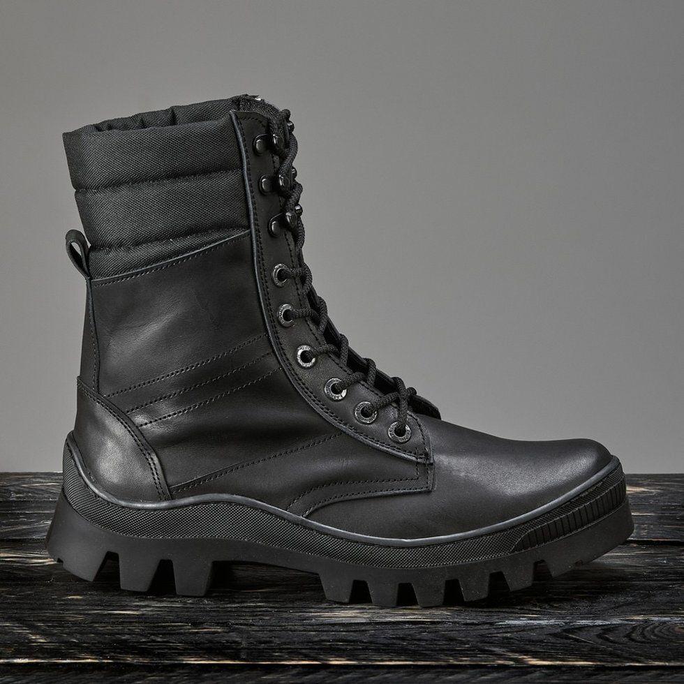 Берцы мужские кожаные черные Ястреб 26-30см демисезонные водостойкие