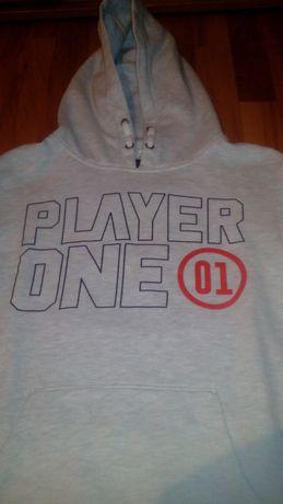 Bluza dla chłopaka 13-15 lat szara reserved 164 cm z napisem ocieplana