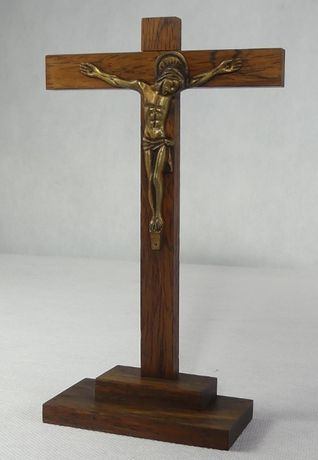Stojący Krzyż krucyfiks JEZUS Art Deco drewno