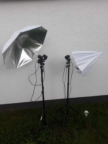Domowe studio zdjęć  Parasole z żarówkami + tło do zdjęć