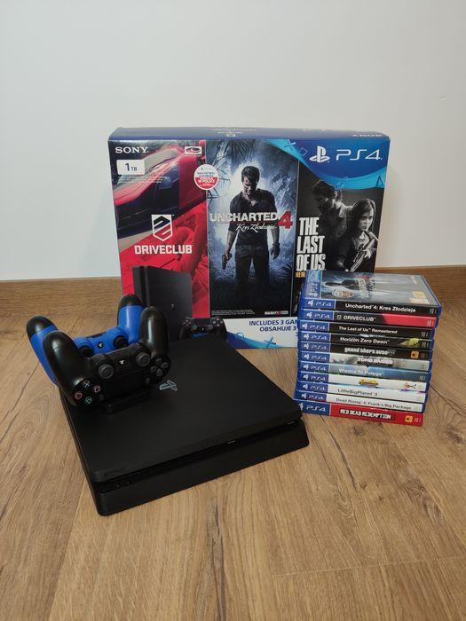PlayStation 4 PS4 Slim 1TB - Gwarancja! / 11 Gier / 2 Pady Iława - image 1