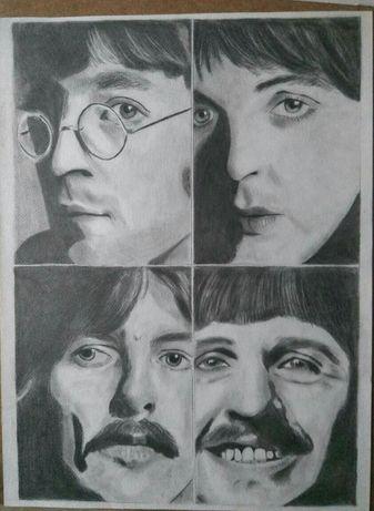 The Beatles portret w ołówku obraz Lennon Harrison inne na zamówienie