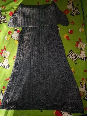 Женская тёплая вязаная жилетка-платье