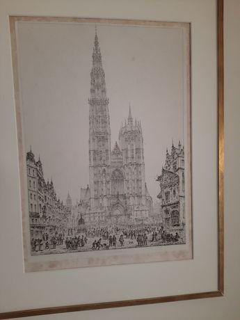 Stara grafika Cathedral Antwerp rysunek John Coney Katedra w Antwerpii