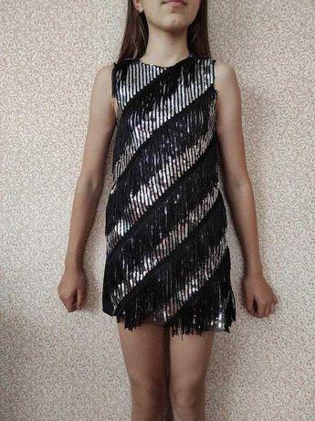 Шикарное платье в паетках на девочку 9-10 лет