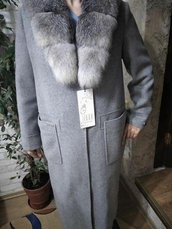 Пальто новое, еврозима, 52 размер, натуральный воротник