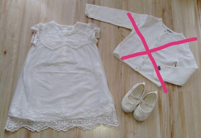 Biały zestaw biała sukienka białe baleriny chrzest chrzciny rozm.86