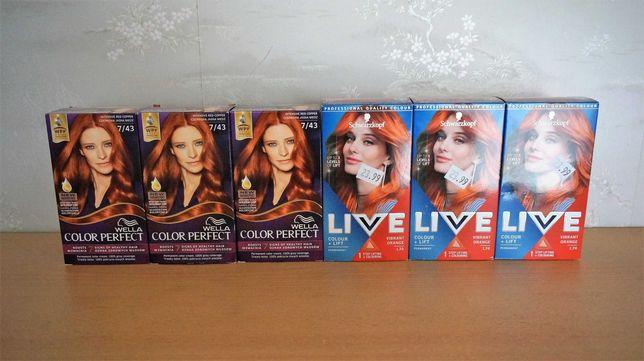 Zestaw 5 farb do włosów odcienie rudości, Schwarzkopf+Wella Okazja!