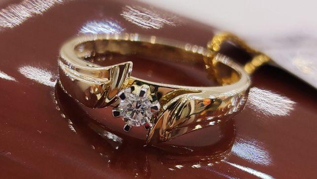 Złoty pierścionek z brylantem 0,120ct/ HIT CENOWY