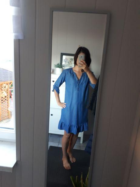 Sukienka jensowa, falbanki