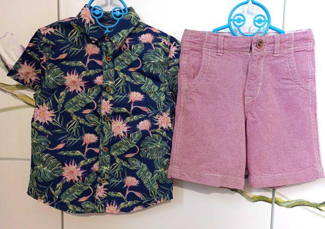 Нарядный набор 3-4 года 104 : джинсовые шорты и летняя рубашка хлопок