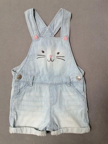Ogrodniczki jeansowe, 68, niemowlęce, kotek H&M