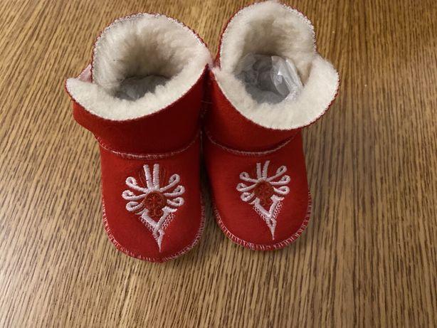 Butki buty niechodki ocieplane rzep śniegowce futro czerwone goralskie