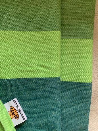 Chusta NATI baby 4,6 m tkana, piękne pasy zielone + kocyk welurowy