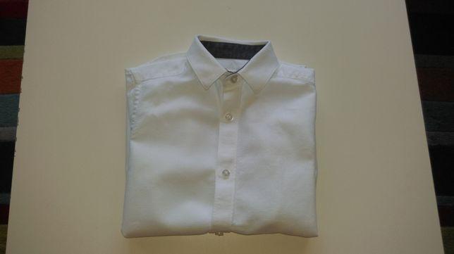 Рубашка белая 116 122 хлопок качество 6 7 короткий рукав