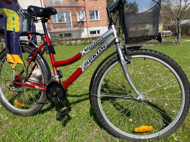 Rower 26 damski fotelik rowerowy dzieciecy