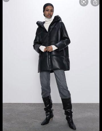 Кожаный пуховик ZARA , куртка