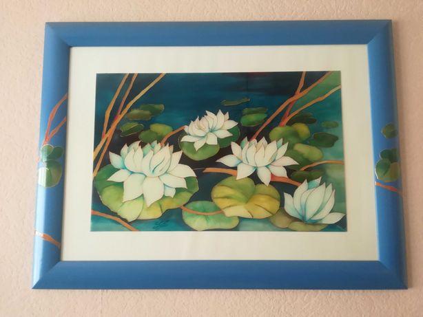 Obraz ścienny szklany w drewnianej ramie kwiaty