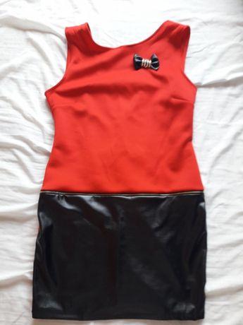 Sukienka mini czerwono czarna