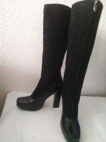 Черные кожаные сапоги, 38 размер