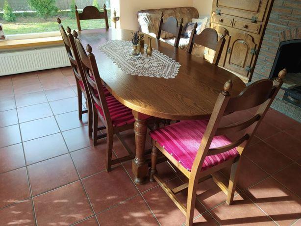 Drewniany stół 210x90 i 6 krzeseł - krzesła drewniane