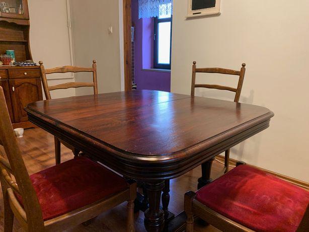 Stół Henrykowski Francja prawdopodobnie Mahoń Antyk + 4 krzesła