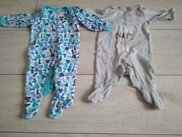 Dwa pajace 56 62 śpiochy niemowle 0-3 miesiace zestaw ubranek