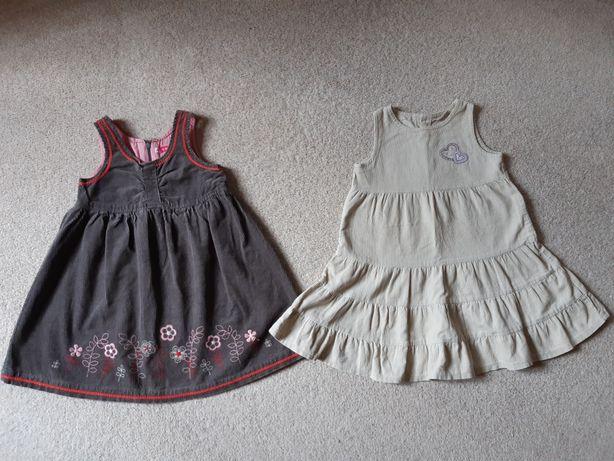 Sukienki sztruksowe 104-110cm