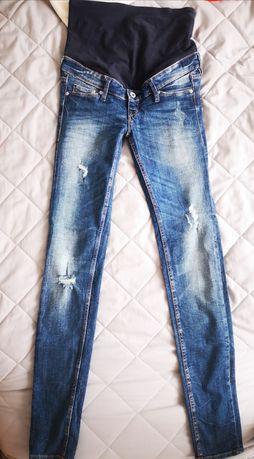 Jeansy ciążowe 34 przetarcia H&M