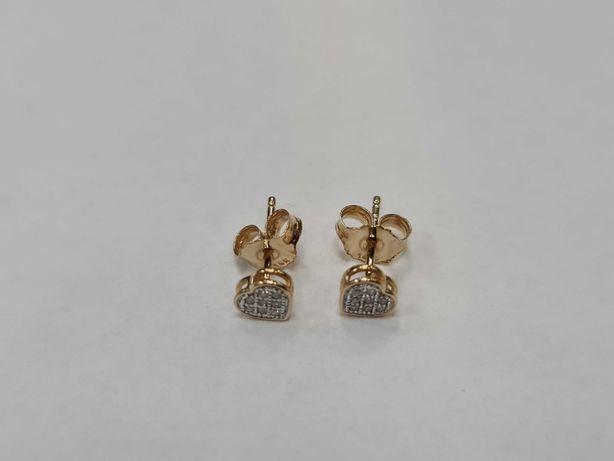 Delikatne złote kolczyki damskie/ 585/ 0.69 gram/ 16 brylantów