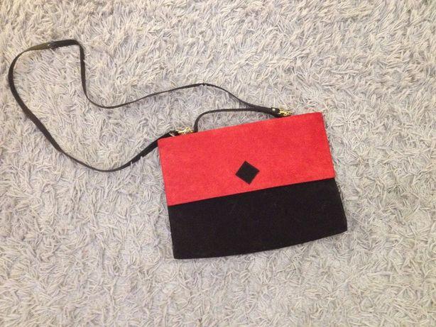 Torebka duża kopertówka czerwono-czarna