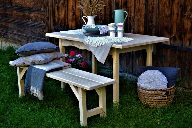 stół z 2 ławkami zestaw ogrodowy drewniany rękodzieło