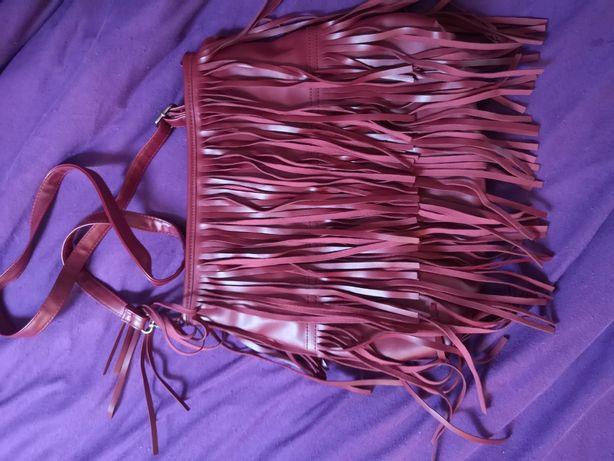 Bordo torba z frędzlami