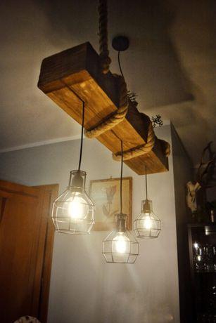Lampa z drewnianej belki, lampa rustykalna, lampa vintage, hygge,