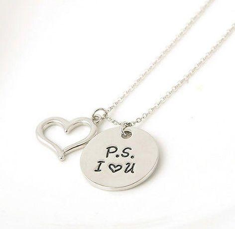 подарок киноману ps I love You двойная подвеска ПС Я Люблю Тебя сердце
