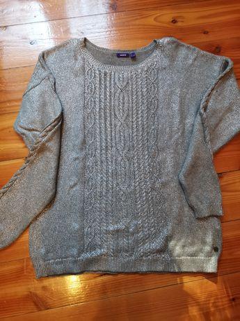 Metaliczno srebrny sweterek MEX rozm L