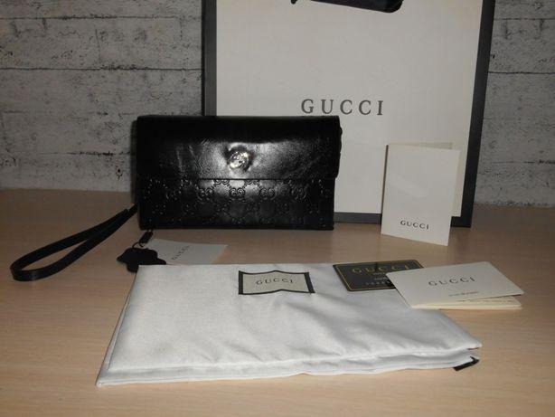 Gucci PORTFEL MĘSKI DUŻY torebka Organizer Kopertowka, skóra 9034
