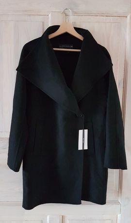 Czarny płaszcz Zara XS handmade