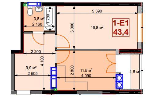 Просторная квартира 43.4 м2 в новом доме. г.Ирпень