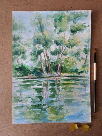 Картина акварелью, пейзаж