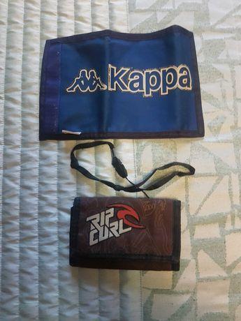 Carteiras da kappa e da Rip Curl originais usadas