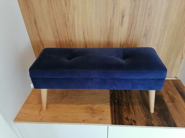 Ławka, siedzisko, buk, tapicerowana, pikowana styl skandynawski 85x40x