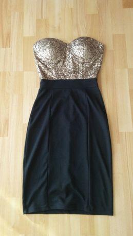 Sukienka z cekinami na Sylwestra, bal, imprezę, bez ramiączek
