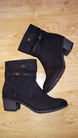 Botki buty jesienne na słupku deichman 39 czarne