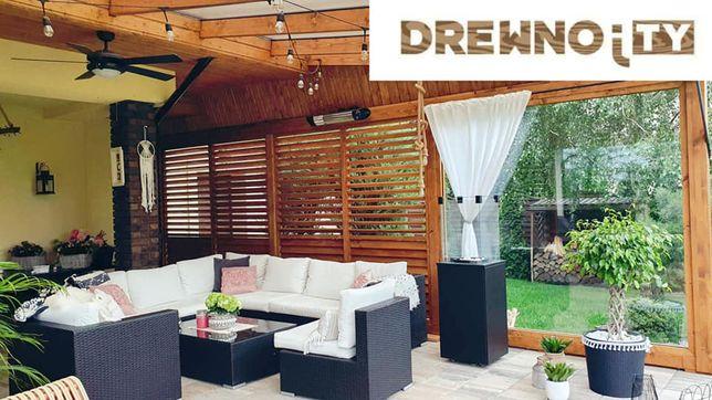 Żaluzje regulowane tarasowe ruchome deseczki drewniane na taras balkon