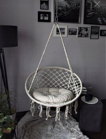 Fotel wiszący z poduszką   bocianie gniazdo   szary   krem