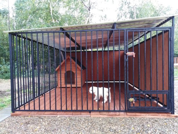 Kojec dla psa 3x3 m z drewnianą zabudową , klatka, boks, zagroda