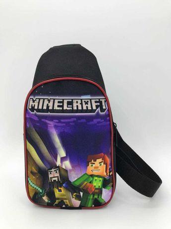 Детская слим сумка Майнкрафт через плечо на каждый день