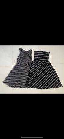 Sukienka na ramiączka i bez ramiączek biało-czarne