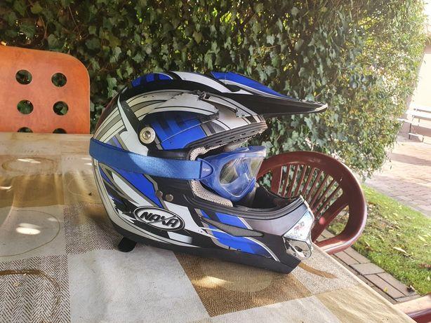 Kask i google motocyklowy/crossowy Naxa rozmiar M